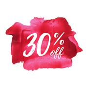 Sale 30% off card, poster, logo, lettering, words, text written on painted ba Stock Illustration