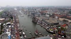 4k Bremerhaven harbor aerial view zoom in antique sail ship Goetheborg Stock Footage