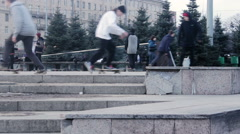 Skateboarders Ride On Their Boards Street Training Stock Footage