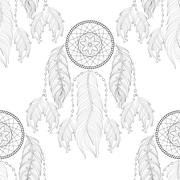 Hand drawn zentangle Dream catcher seamless pattern for adult co - stock illustration