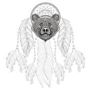 Hand drawn zentangle Dreamcatcher with Bear head for adult color Stock Illustration