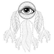 Hand drawn zentangle bohemian Dreamcatcher with Eye, Native Amer - stock illustration