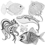 Hand drawn zentangle Fishes, Whale, Octopus, Stingray for adult - stock illustration
