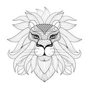 Hand drawn zentangle Ornamental Lion for adult coloring pages, p - stock illustration