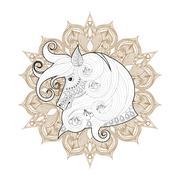 Hand drawn zentangle Ornamental Horse on mehendi mandala for adu - stock illustration