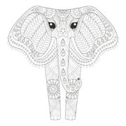 Zentangle Ornamental Elephant for adult coloring pages, Hand dra - stock illustration