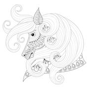 Hand drawn zentangle Ornamental Horse for adult coloring pages Stock Illustration