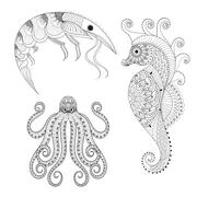 Hand drawn zentangle Shrimp, Sea Horse, Octopus for adult anti s - stock illustration