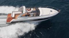 Aerial view motorboat in navigation, motor boat, motor yacht, motoryacht Stock Footage