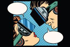 Virtual love man woman vr glasses - stock illustration