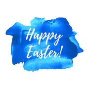 Happy Easter vector illustration hand drawn circle icon, written text on blue Stock Illustration