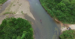 Four Tourists Take a Ride down the Pastaza River in Rural Ecuador Stock Footage