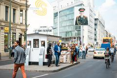 BERLIN, GERMANY- May 18: Checkpoint Charlie. Former bordercross in Berlin on  Stock Photos
