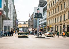 BERLIN, GERMANY- May 18: Checkpoint Charlie. Former bordercross in Berlin on  - stock photo