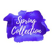 Spring Collection card, poster, logo, words, text written on pink violet pain - stock illustration