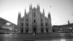 Bride and groom walking in place dome milan italy Stock Footage