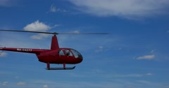 Air show at the airfield. The Robinson helicopter. Stock Footage