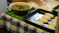 Cooking meat pies Stock Footage