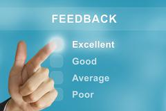 Business hand pushing feedback button Stock Illustration