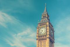 Big Ben, London, UK, vintage effect style - stock illustration