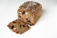 German fruit bread on white Stock Photos