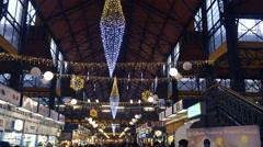 Great Market Hall indoors Budapest, Hungary  Dec 8 2015 Stock Footage