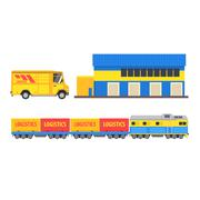 Warehouse, Cargo Train And Bus Stock Illustration