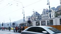 Budapest Hungary - tram street car near Great Market Hall December 8 2015 Stock Footage
