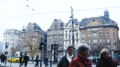 Budapest Hungary - Tourists near Great Market Hall December 8 2015 Stock Footage