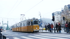 Budapest street car - tram in winter - December 8 2015 Stock Footage