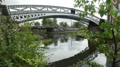 Birmingham canal bridge and train. Stock Footage