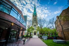 Market Lane Park and The Cathedral Church of St. James, in Toronto, Ontario. Stock Photos