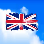 Flag of Great Britain against the sky Stock Illustration