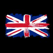Flag of Great Britain on a black background - stock illustration