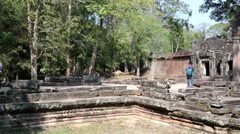 Preah Khan Temple 12th Century in Angkor Wat in Siem Reap, Cambodia Stock Footage