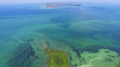 Aerial View, Flying Over Deserted Tropical Island in Northeastern Brazil Stock Footage