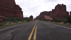 ARCHES NATIONAL PARK, open highway center of road Stock Footage