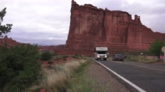 RV, motorhome driving, ARCHES NATIONAL PARK Stock Footage
