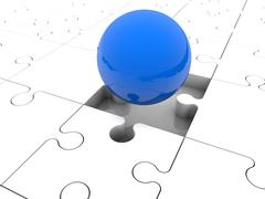 Blue ball on puzzle pieces - stock illustration