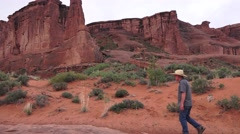 ARCHES NATIONAL PARK, Western man ,cowboy hat Stock Footage