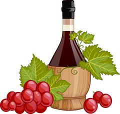 Red wine in italian fiasco bottle Stock Illustration
