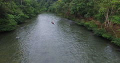 An Aerial View of a Canoe Floating Down an Ecuadorian River Stock Footage