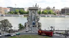 Bridge over the Danube. Tourist bus. Budapest. Hungary.  Stock Footage