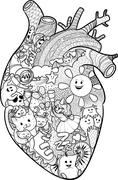 anatomical heart with funny doodles - stock illustration