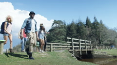 4K Excited hipster group arriving at festival campsite Stock Footage