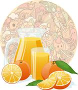 Fresh orange juice on funny doodles texture Stock Illustration