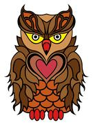 Big serious brown owl Stock Illustration