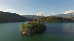 Church in beautiful Bled Lake Stock Footage