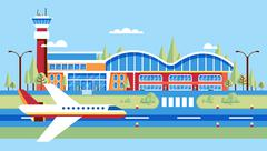 airplane, airstrip, big airport for flights, travel, business travel in flat - stock illustration
