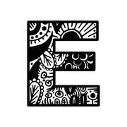 Hand drawn alphabet letter E vector isolated on white background. For shirt d Stock Illustration